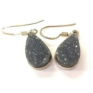 Jewelry - Sterling Silver & Black Druzy Earrings